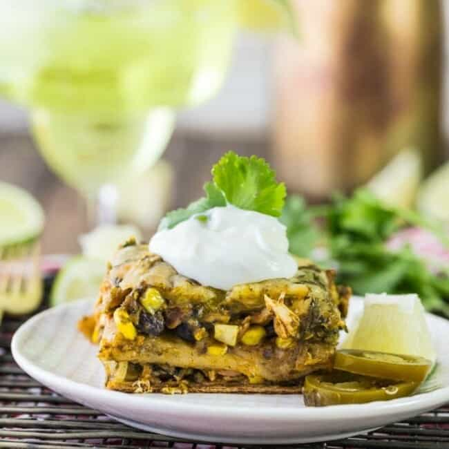 chicken mexican lasagna on a plate