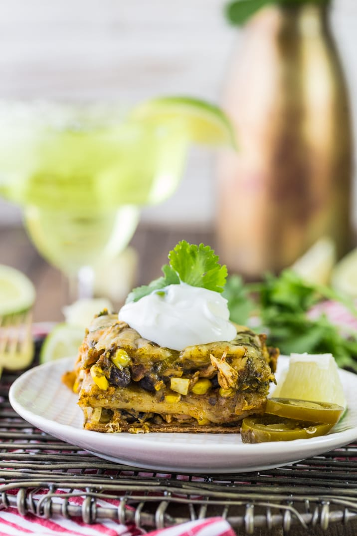 chicken mexican lasagna bake topped with sour cream