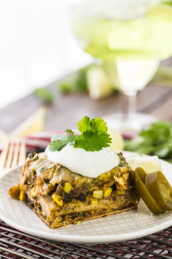 mexican lasagna bake topped with sour cream
