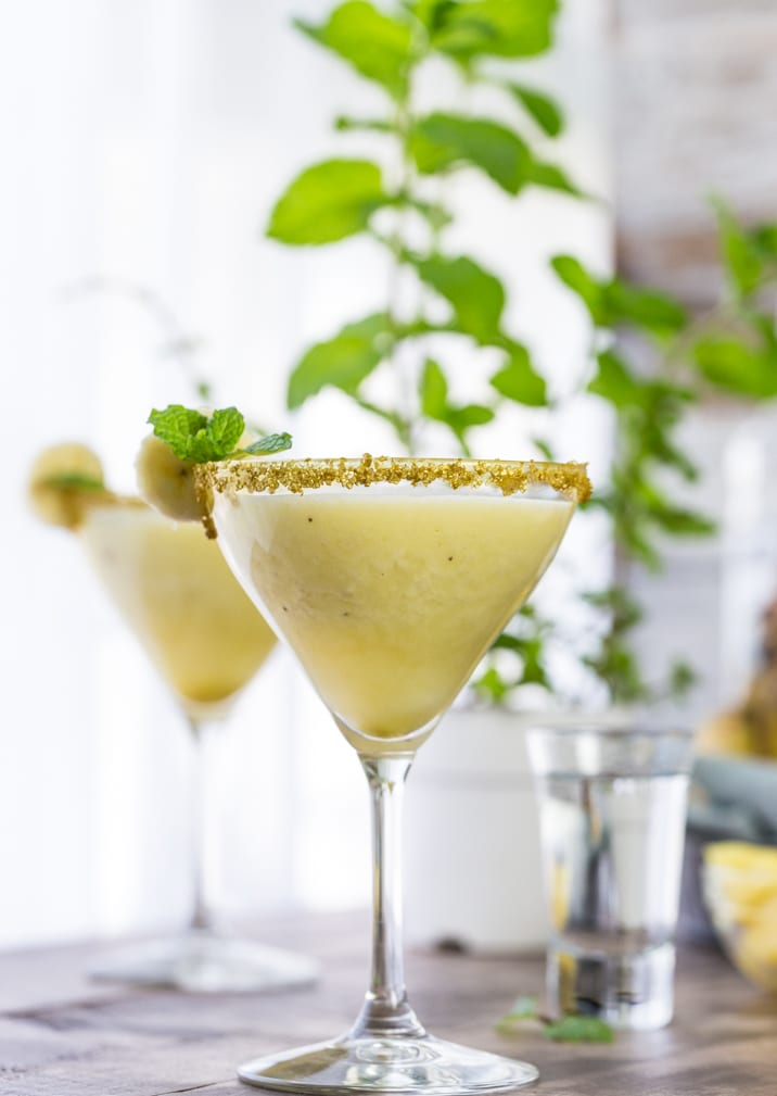 Monkeylada Martinis! Made with fresh banana and pineapple, and finished off with pineapple milk! Delicious, tropical, and fun! LOVE this during the Summer!