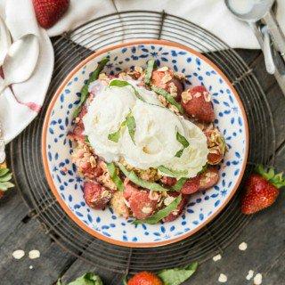 Strawberry Basil Crockpot Cobbler
