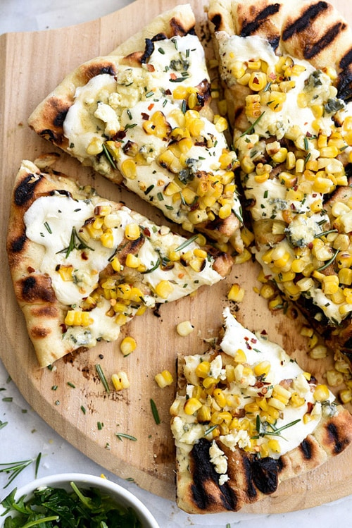 Charred Corn with Rosemary Grilled Pizza | Foodie Crush
