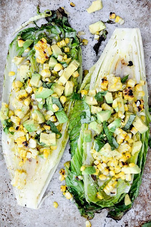 Grilled Romaine Salad with Corn and Avocado | Floating Kitchen
