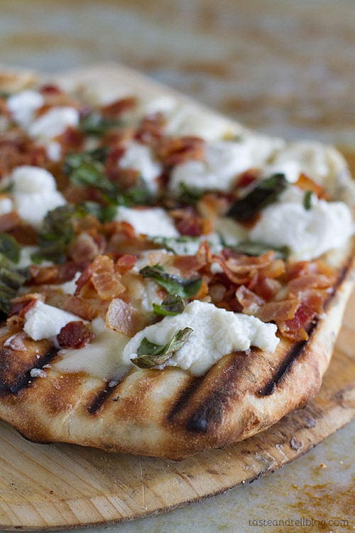 Grilled White Pizza Recipe with Bacon and Basil | Taste and Tell