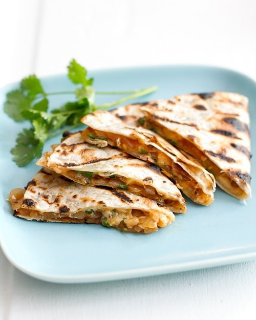 Grilled Barbeque Onion and Smoked Gouda Quesadillas | A Couple Cooks