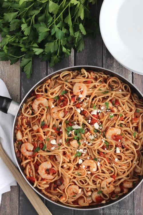 Super-Fast Herbed Mediterranean Shrimp Pasta | Two Healthy Kitchens
