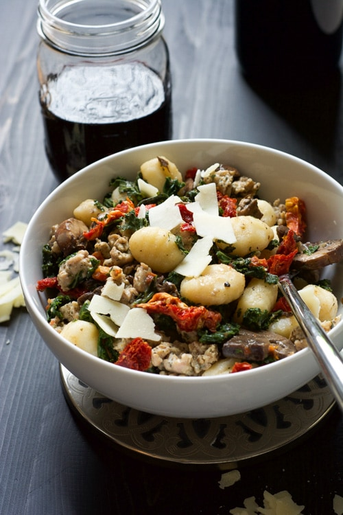 One Pot Tuscan Kale & Sun Dried Tomato Chicken Sausage Gnocchi   With Salt and Wit