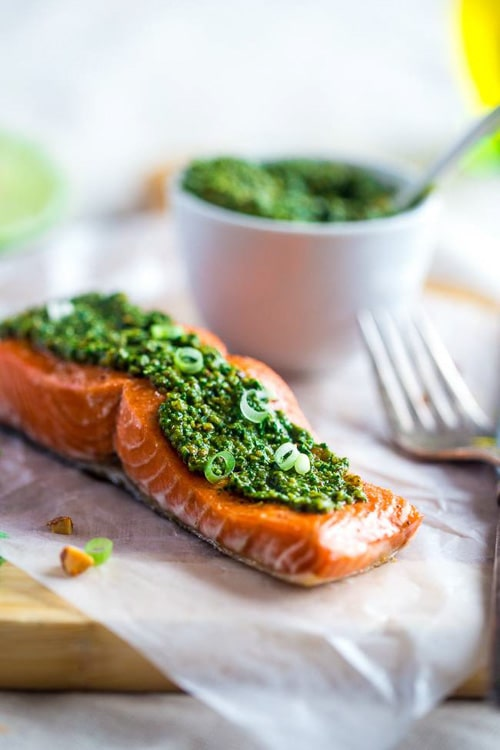 Baked Salmon with Asian Cilantro Pesto | Food Faith Fitness