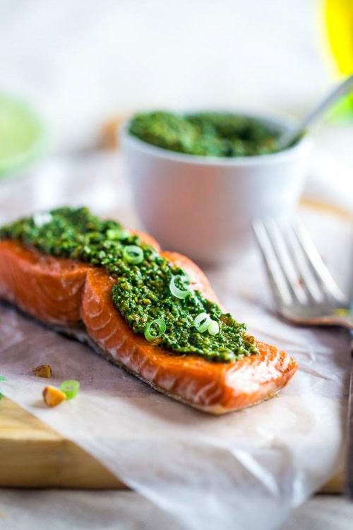 Baked Salmon with Asian Cilantro Pesto | Food Faith Fitness