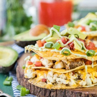 Loaded Breakfast Tostada Stacks