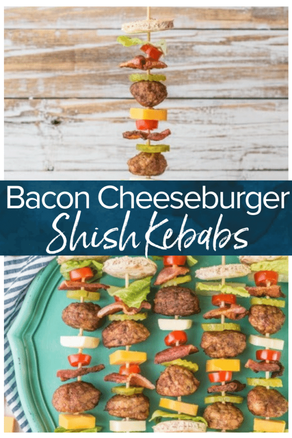 bacon cheeseburger kebabs on plate - pinterest collage image