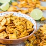 Mexican spice cheese crackers in a bowl