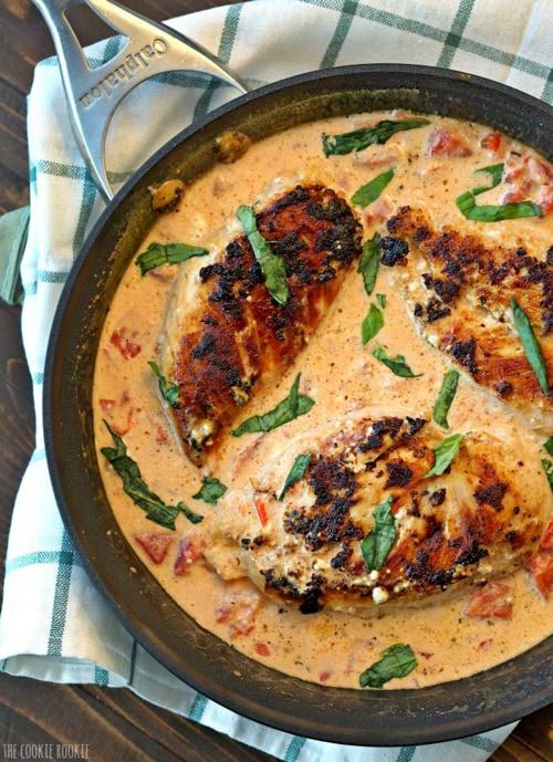 Skillet Basil Cream Chicken   The Cookie Rookie
