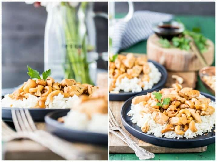 Slow Cooker Cashew Chicken made in a crockpot! SUPER EASY and delicious meal the entire family will love! Pair with rice for the perfect dinner! Throw everything in the slow cooker and forget about it until dinner!