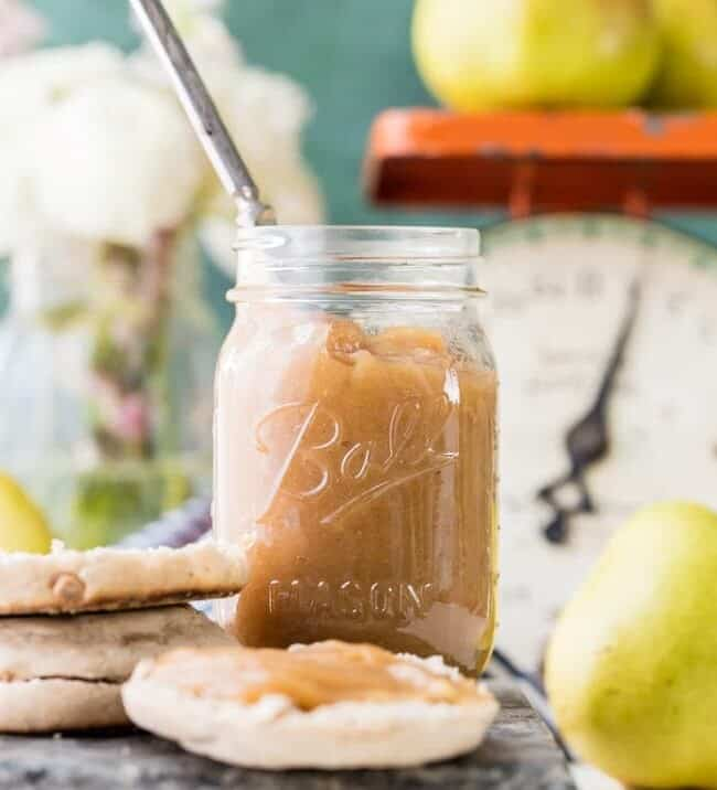 pear butter in a jar on table