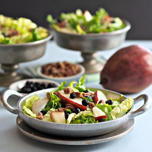 Pecans, Blueberries Pears and Greens Salad | Simply Sated