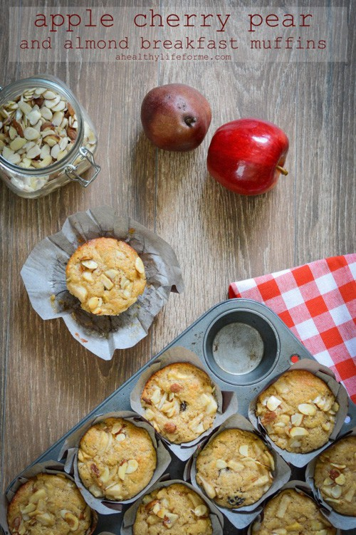 Apple Cherry Pear and Almond Breakfast Muffins | A Healthy Life for Me