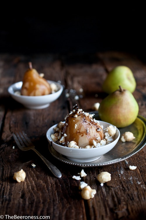 Beer Poached Pears with Chocolate Stout Fudge Sauce and Moose Munch Crumble | The Beeroness