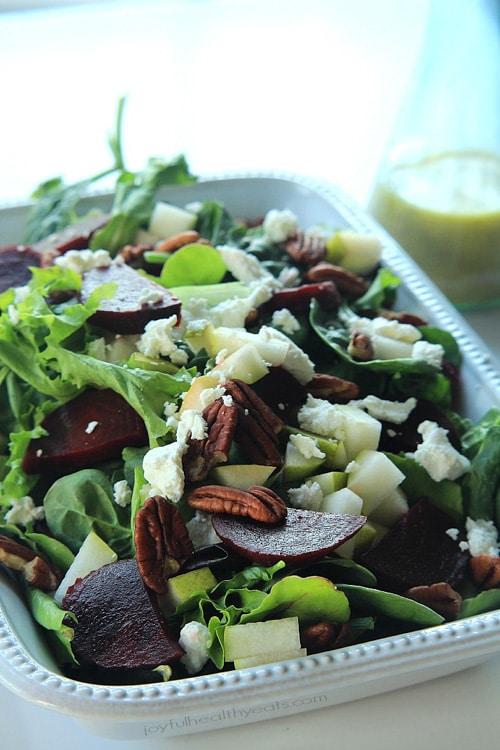 Goat Cheese Asian Pear & Beet Salad with Honey Mustard Vinaigrette | Joyful Healthy Eats