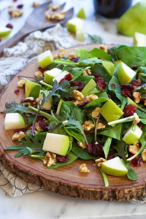 Pear, Blue Cheese and Cranberry Spinach Salad with Honey Pecans | With Salt and Wit