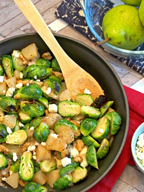 Pear and Blue Cheese Roasted Brussels Sprouts | The Cookie Rookie