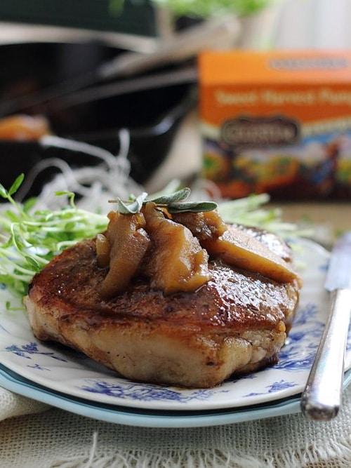 Pumpkin Tea Glazed Pork Chops with Apples | Running to the Kitchen