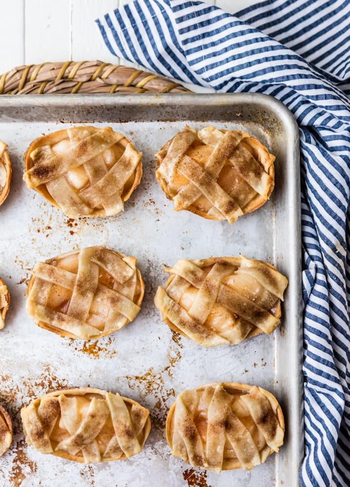 prebaked apple pie taco boats on a cookie sheet