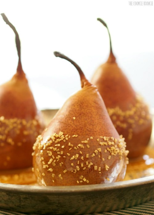 Baked Caramel Dipped Pears | The Cookie Rookie