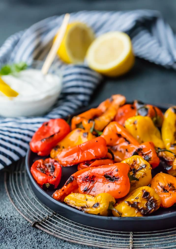 Blistered Sweet Peppers with Lemon Pepper Goat Cheese Dip!! The easiest, prettiest, and TASTIEST appetizer you'll ever make! HEALTHY and delicious!