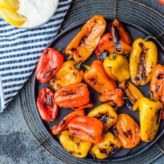 Blistered Sweet Peppers with Lemon Pepper Goat Cheese Dip