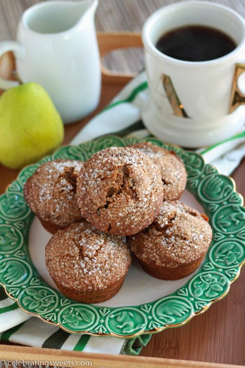 Gingerbread Pear Muffins | Celebrating Sweets
