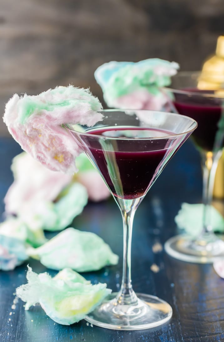 martinis with cotton candy