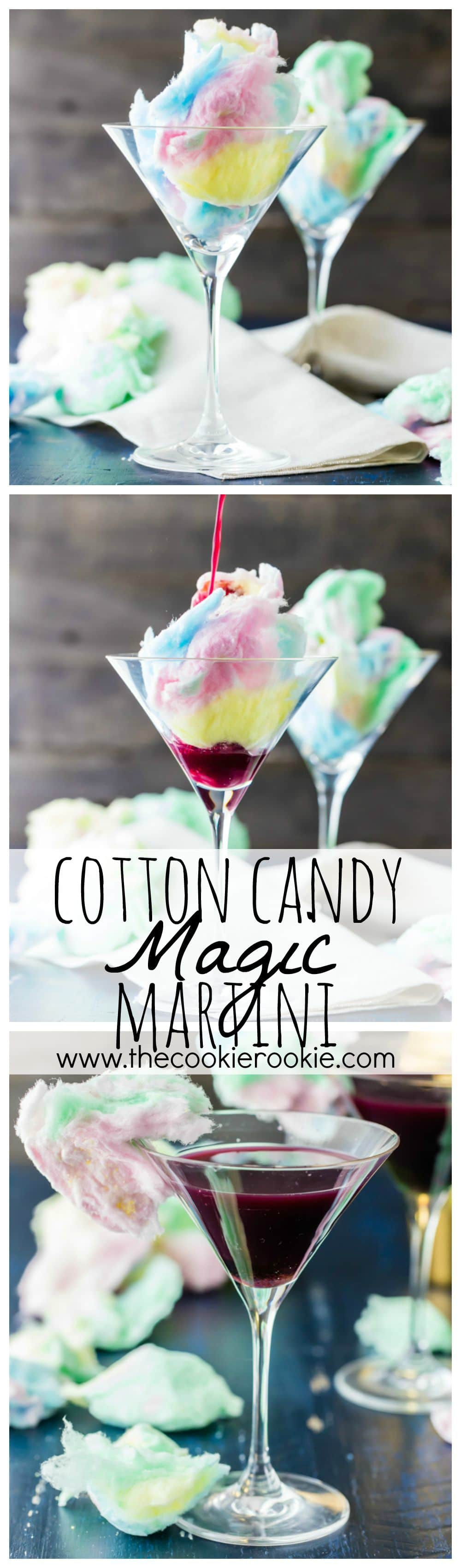 Magic Cotton Candy Martini (Plus Kid Friendly Version). There are SO FUN for Halloween or any time! The Cotton Candy dissolves in the juice!