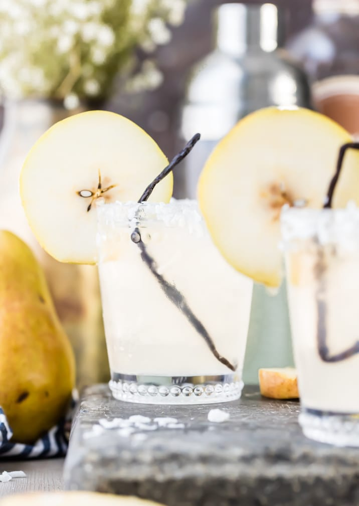 two glasses of pear vanilla coconut cooler