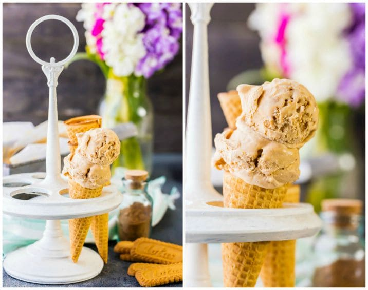 pumpkin ice cream in waffles cones