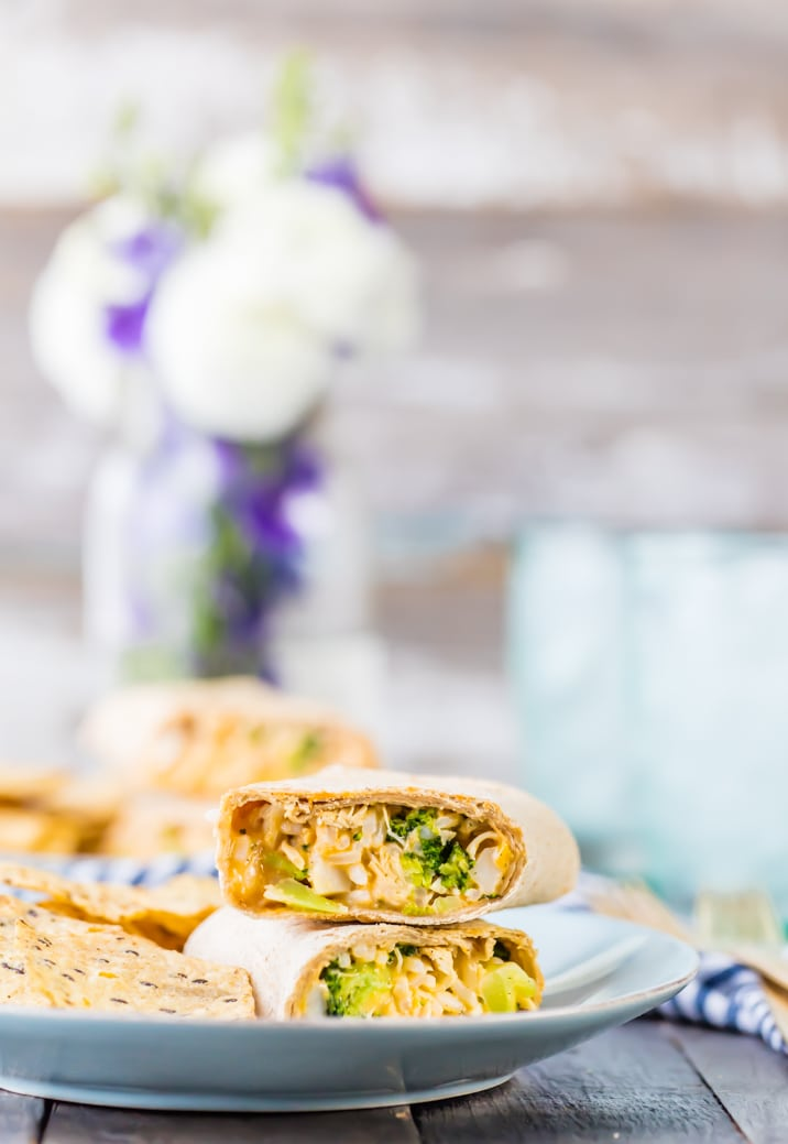 Comfort food can be healthy! Cheesy Ranch Broccoli Chicken Burritos are a quick and easy favorite meal from The Cookie Rookie!