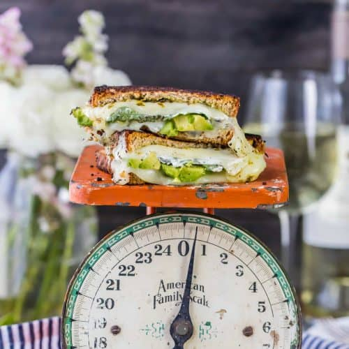 Green Goddess Grilled Cheese, bursting with flavor, good green stuff, and CHEESE! Avocado, Mozzarella, Pesto, and so much more. Talk about comfort food!