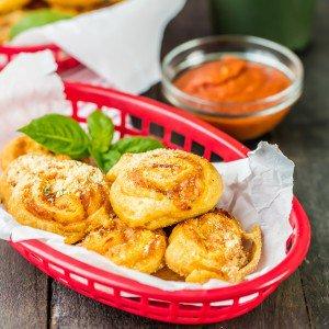 basket of stuffed pepperoni pizza rolls