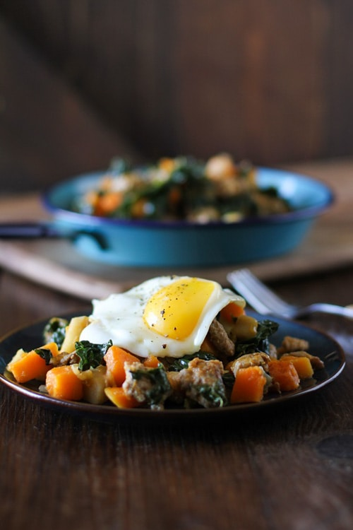 Butternut Squash Hash with Apples, Sausage and Kale | The Roasted Root