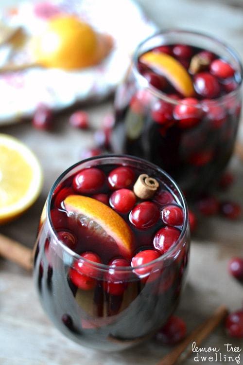 Mulled Cranberry - Orange Sangria | Lemon Tree Dwelling