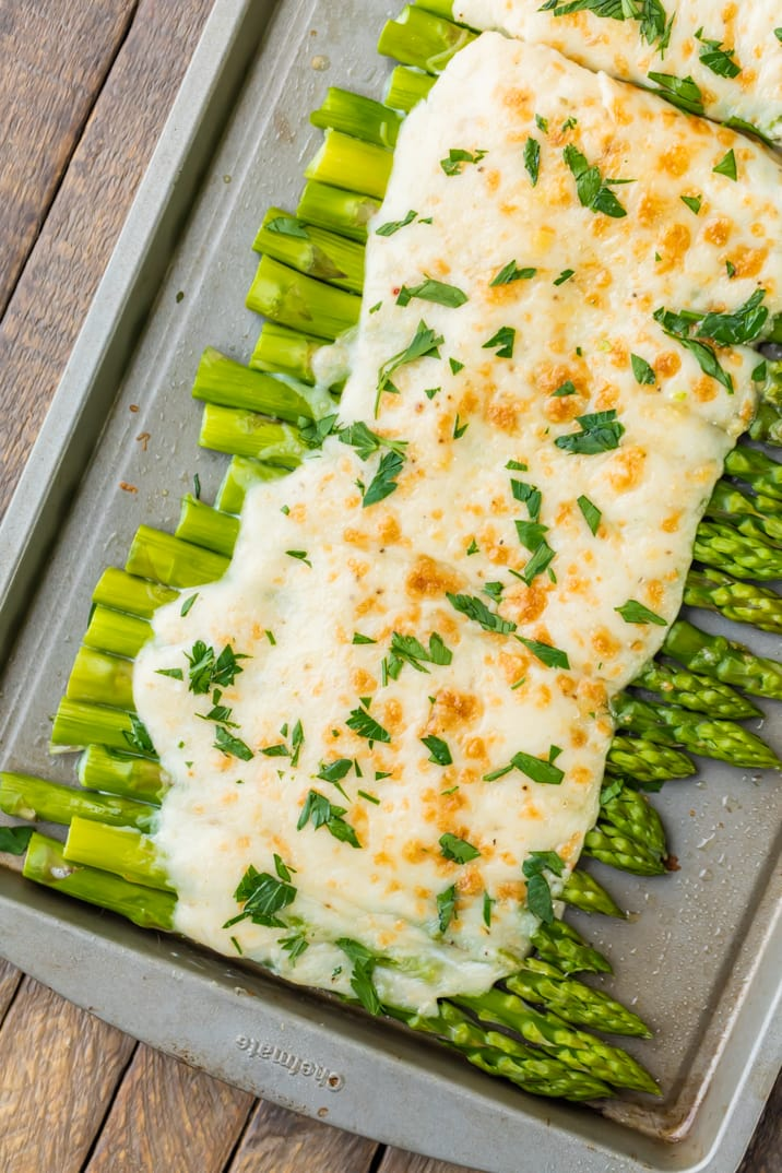 Easy asparagus recipe covered in cheese