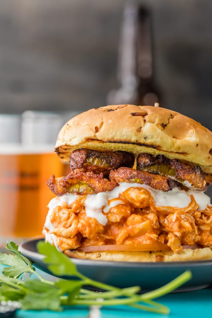 buffalo chicken sandwich with fried pickles