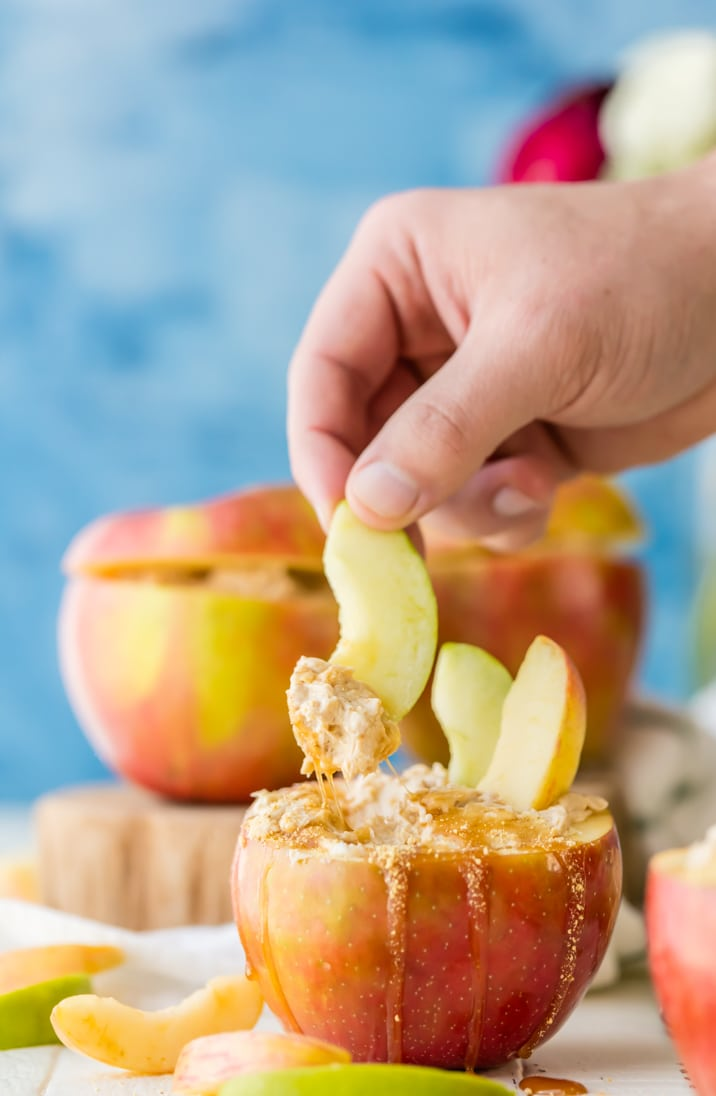 Individual Caramel Cheesecake Apple Dip...served in APPLES and made with only THREE INGREDIENTS! So cute and tasty for Fall! Wow your guests!