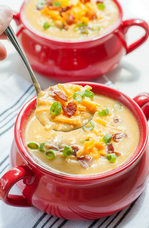 Sweet Potato and Cauliflower Soup | Peas and Crayons