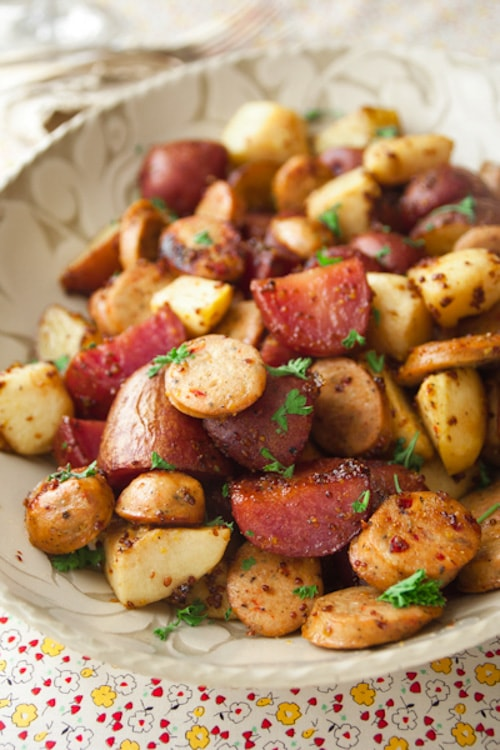 Roasted Potatoes with Apples, Sausage and Maple Mustard Glaze | Healthy Seasonal Recipes