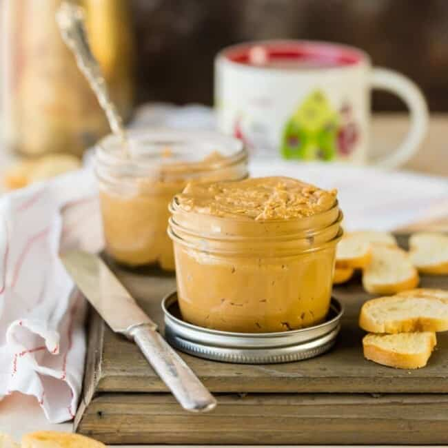 peanut butter fluff spread in a jar with knife