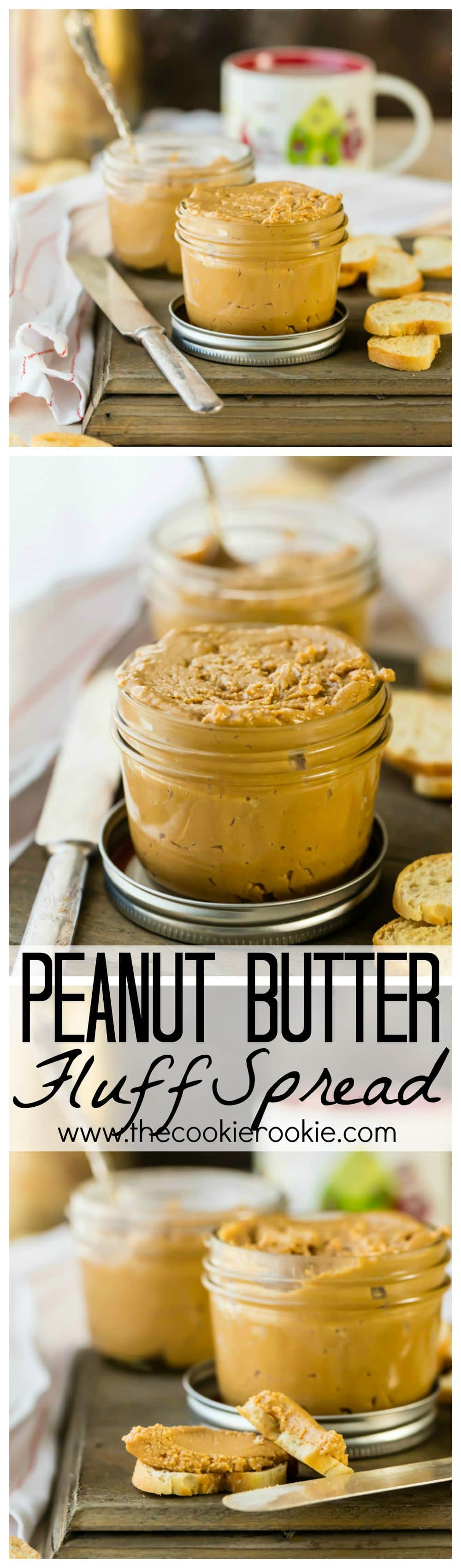 Peanut Butter Fluff Spread, ALL you need in life! Peanut Butter, Marshmallow Fluff, and Molasses come together to create this SUPER EASY and heavenly spread!