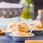 scooped homemade pumpkin ice cream in a dish with spoon