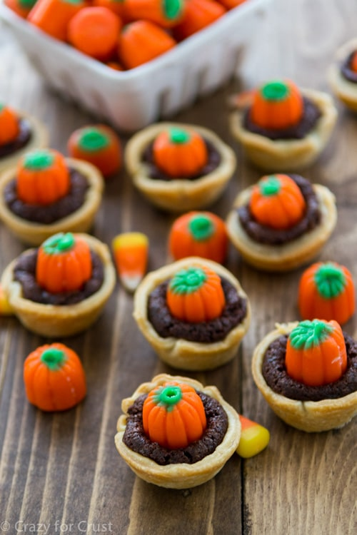 Pumpkin Patch Candy Corn Brownie Pies | Crazy for Crust