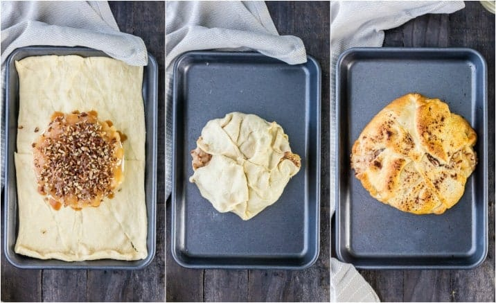 cookie sheet showing how baked brie is wrapped in crescent roll dough